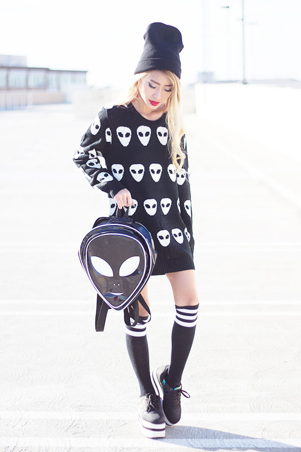 style2bones sweater shoes alien platform shoes bag