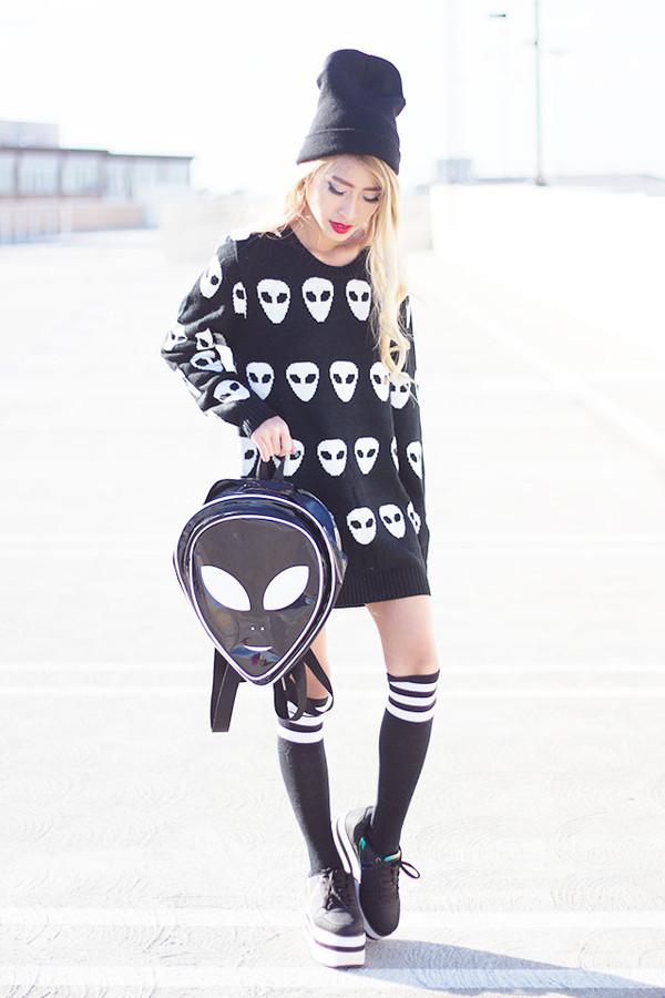 style2bones sweater shoes alien platform shoes bag