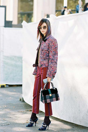 vanessa jackman,blogger,jacket,bag,pants,shoes,mules,socks,handbag,red pants,floral jacket,fall outfits,paris fashion week 2016,miu miu,embellished,tote bag