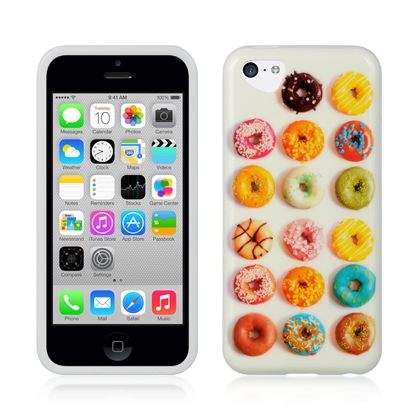New Apple iPhone 5C Yummy Donuts White TPU Cute Fun Girly Dessert Food Hard Cover Phone Case