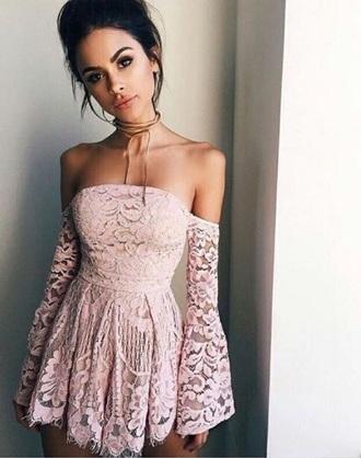 dress lace summer light pink pink pink dress tumblr trendy pastel pink pale pink dress lace dress off the shoulder summer dress