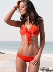 swimwear,flutter orange