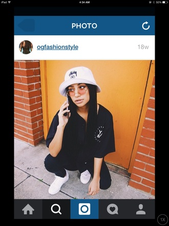 hat dope bucket hat style black t-shirt girls sneakers shades eyes instagram fashion shirt shoes