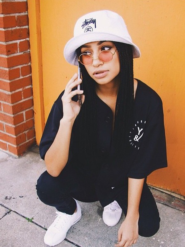 hat dope bucket hat style black t-shirt girls sneakers shades eyes  instagram fashion shirt. 0bd88ddae18