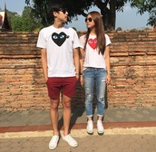 t-shirt,thiti,shirt,couple sweaters,couples shirts,couple,matching couples,heart,thai jewels,bank,love,allstars