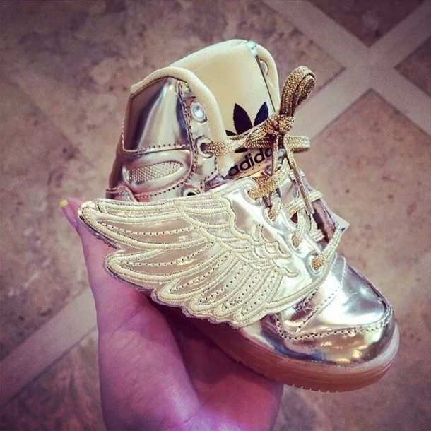 52ef03df254ac shoes adidas wings pretty sneakers jeremy scott kids fashion high top  sneakers gold wings kids shoes