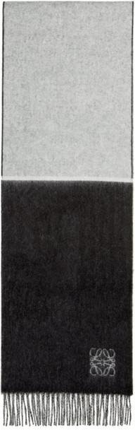 LOEWE scarf white black wool black and white