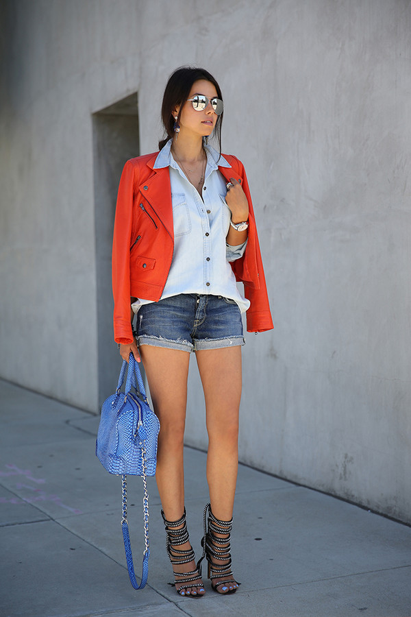 viva luxury shorts shirt bag jacket sunglasses jewels shoes high heels black designer blogger fashion