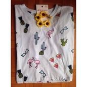 t-shirt,h&m,coachella,pineapple print,sunglasses,flamingo,sunflower,watermelon print,pineapple,coachella top,top,cactus