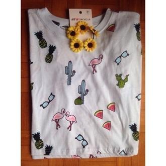 t-shirt h&m coachella pineapple print sunglasses flamingo sunflower watermelon print pineapple coachella top top cactus