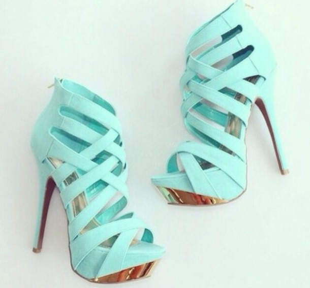 Shoes: heels, heel, sneakers, blue, blue shoes, fashion, jewelry ...