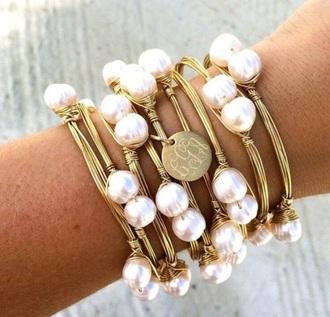 jewels perles beautiful bracelets pearl stacked bracelets sea creatures gold armcandy gold bracelet gold jewelry