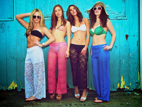 Stretchy lace beach yoga lounge pants with by lizajaneapparel
