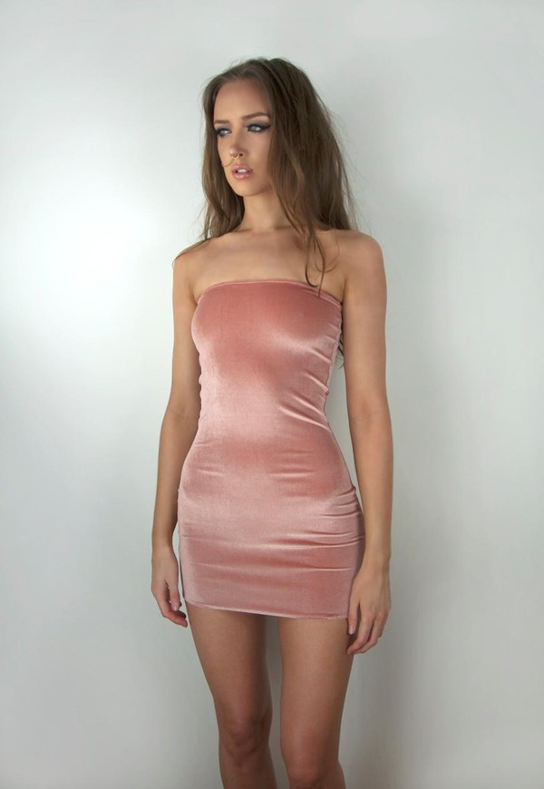 Dress: tube dress, velvet, velvet dress, light pink, reflective ...