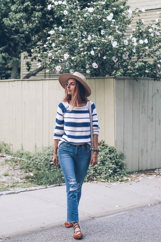 prosecco and plaid blogger sweater belt hat bag jewels stripes white sweater blue sweater ripped jeans lace up lace up flats cropped bootcut ripped jeans