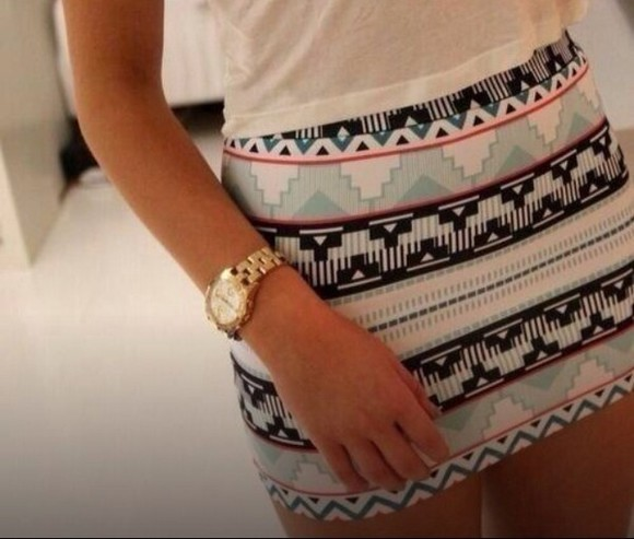 pattern blue black skirt white aztec pink bodycon
