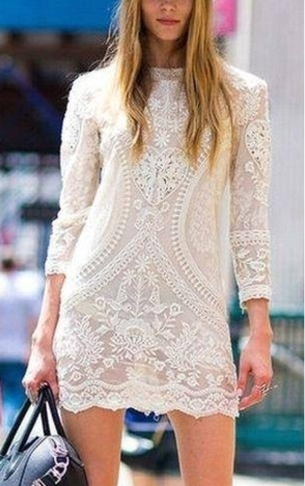dress little black dress white dress lace dress white lace bohemian