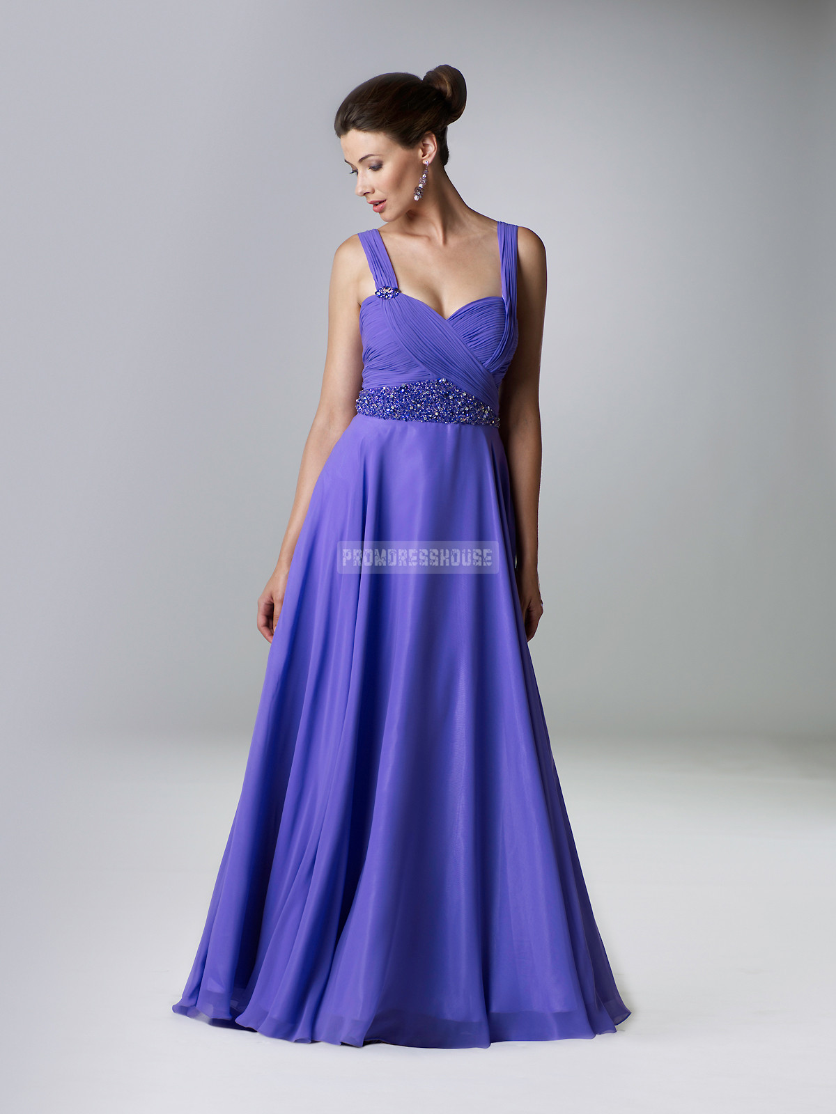 Chiffon A-line Panel Train Purple Straps Dramatic Evening Dress - Promdresshouse.com