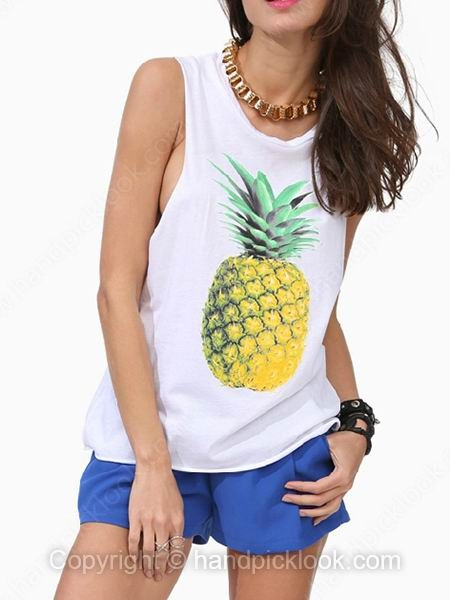 White sleeveless pineapple print vest