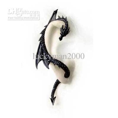 Wholesale Charm - Buy Alchemy Gothic Dragon Earring Stud Wrap Black Dragon's Lure Ear Cuff, $1.46 | DHgate