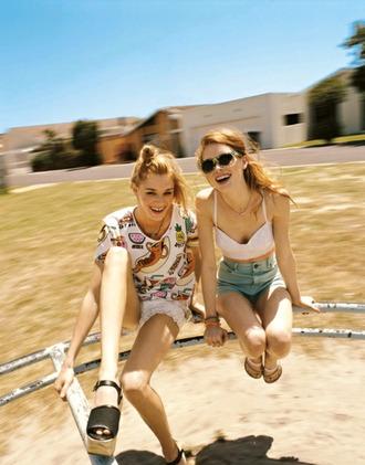 sunglasses top crewneck tank top shoes sandals heels lace shorts light pink