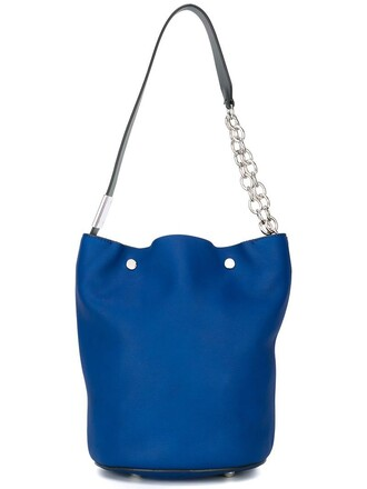 women leather blue bag