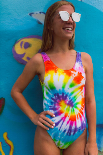swimwear yeah the label tie dye 90s style swimwear onepiece one piece swimsuit