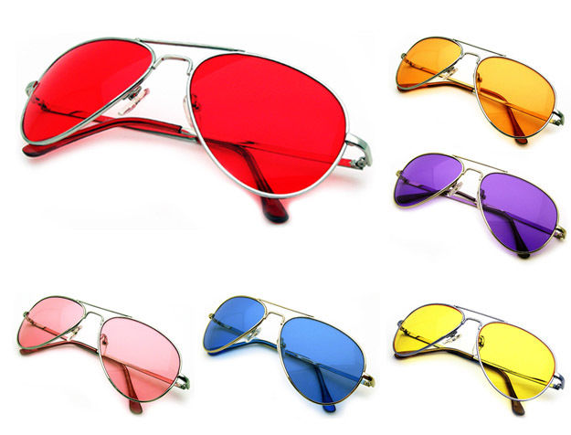 Color Lenses Silver Metal Frame Aviator Sunglasses 70s Retro Pilot ...