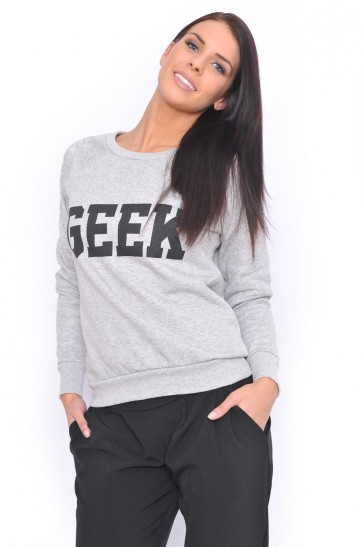 Sandra 'GEEK' Sweatshirt in Grey