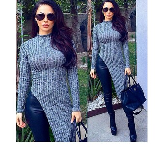 sweater grey jumper instagramfashion leather leggings leatherboots