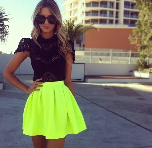 New Arrival Women Skirt Spring Summer 2014 Neon Green Short Skater Skirt size HR 0360-in Skirts from Apparel & Accessories on Aliexpress.com