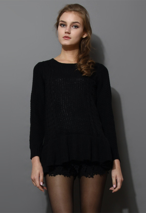 sweater frill hem knitwear top black