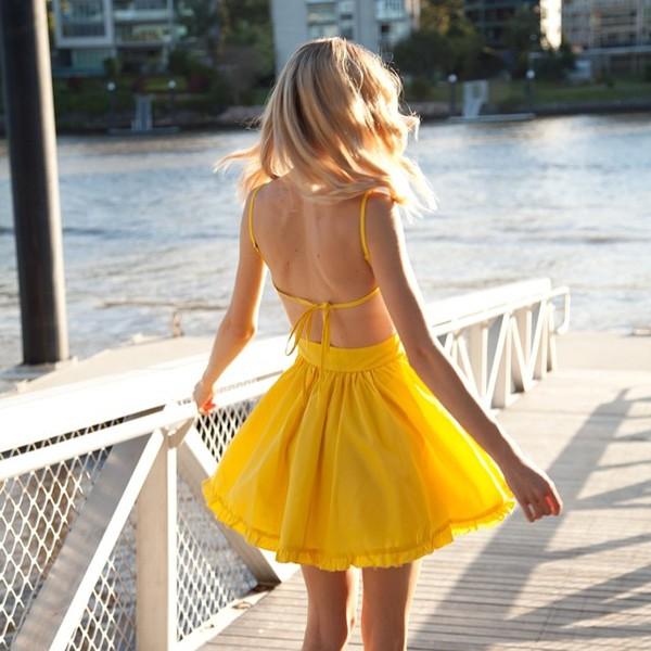 yellow pretty tie back ruffle hem skater dress shopfashionavenue ask grace yellow dress