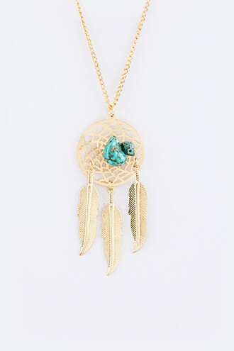 jewels dreamcatcher gold jewelry necklace gold necklace dreamcatcher necklace boho bohemian boho chic boho jewelry