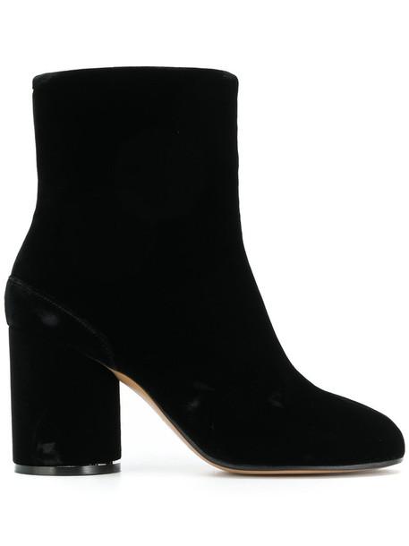 MAISON MARGIELA women boots leather black velvet shoes