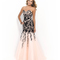 Blush prom 9920 peach & black strapless sweetheart beaded lace bodice trumpet gown 2015 prom dresses