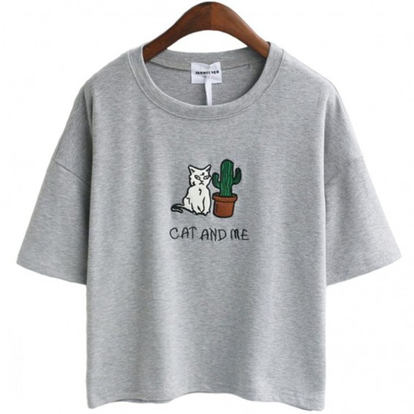 T shirt grey cats summer cool trendy cactus for Cute summer t shirts