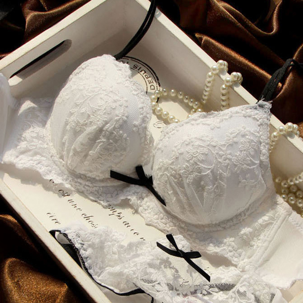 Water soluble embroidery white bride push up bra set deep v neck thickening 3 breasted underwear