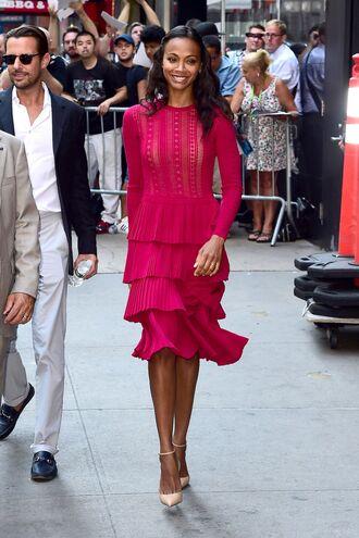 dress dress long sleeves zoe saldana high heels heels