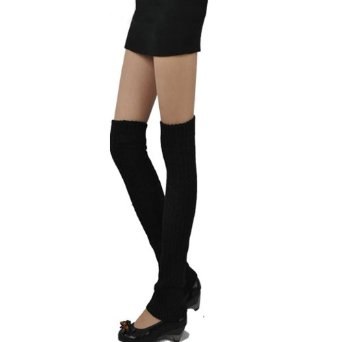Amazon.com: GMB New Super Soft Cable Knit Leg Warmers Long Socks in Black: Clothing