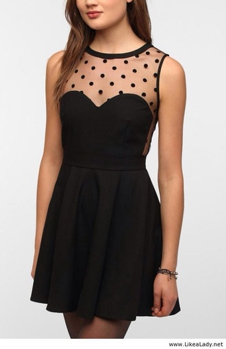 dress little black dress sheer polka dots cute dress polka dot bikini black cute