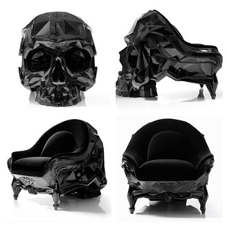 phone cover chair skull goth home decor sofa home accessory skull chair black