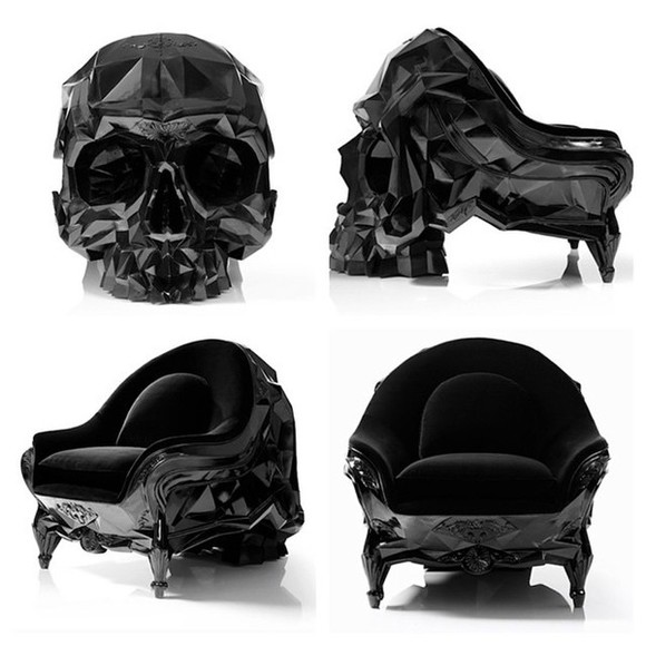 skull phone case chair goth home decor sofa