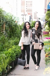 the double take girls,blogger,top,bag,fall outfits,blouse,sandals,black pants,embroidered,lace top
