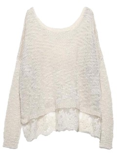 Beige long sleeve knit sweater with lace hem