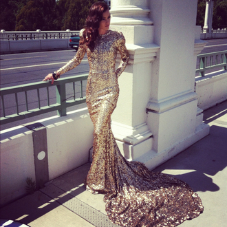 dress gown long sleeves long sequins gold gold sequins sequin dress silver glitter silver dress sparkly dress silver sparkles long sleeve dress maxi dress prom dress evening dress