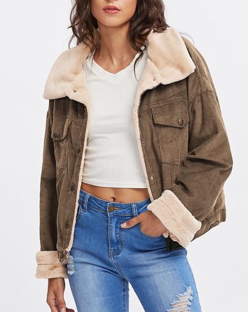 jacket girly brown fur fur coat fur jacket button up corduroy