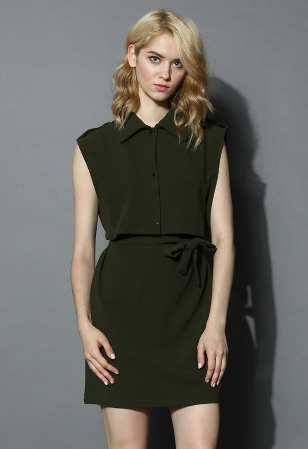 chicwish grace belted twinset dress olive green