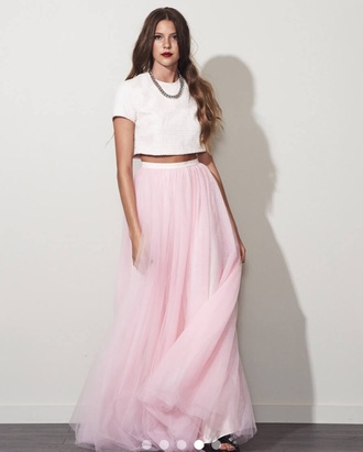 dress two-piece tulle dress tulle skirt prom dress long prom dress formal dress two piece dress set pink tulle skirt skirt