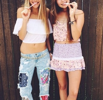 pants patchy jeans jeans girly girly outfits tumblr cute woman's clothing blouse skirt shirt